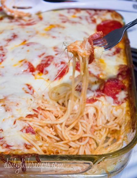 Pepperoni Pizza Spaghetti Casserole Recipe