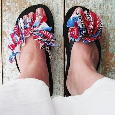 Red White and Blue Bandana Flip Flops by Tip Junkie