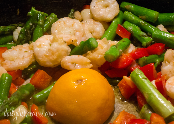 Meyer Lemon-Garlic Shrimp & Asparagus with Brown Rice