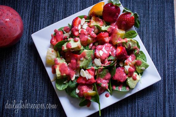 Strawberry, Avocado, Spinach Salad with Strawberry Vinaigrette