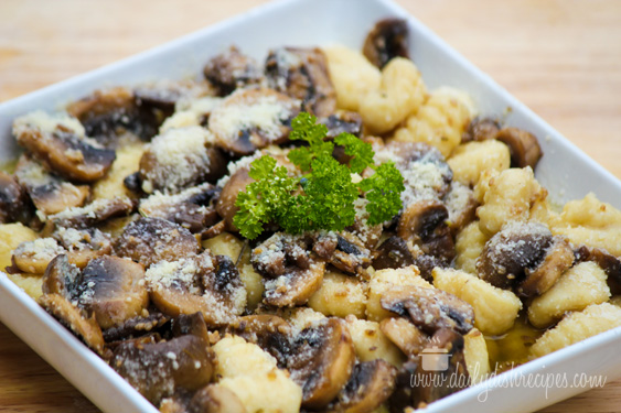 gnocchi and mushrooms in brown butter garlic sauce