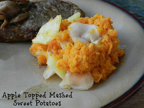 Apple Topped Mashed Sweet Potatoes