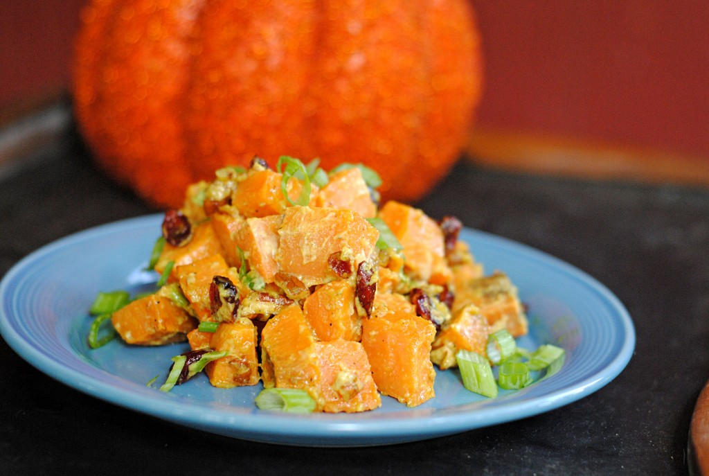 Curried Sweet Potato Salad with Cranberries and Walnuts