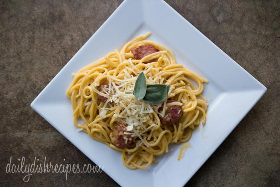 Butternut Squash-Sage Cream Sauce with Sausage Spaghetti