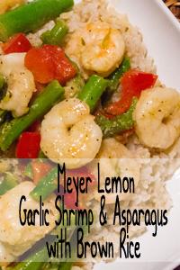 Meyer Lemon Garlic Shrimp & Asparagus with Brown Rice