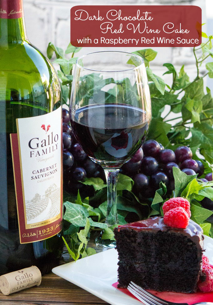 Dark Chocolate Red Wine Cake with Red Wine Raspberry Sauce #SundaySupper