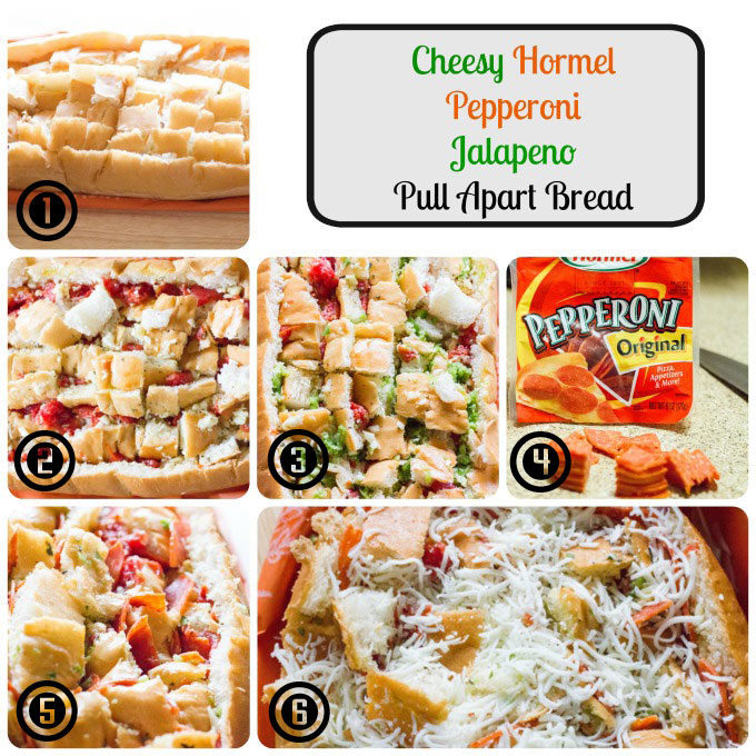 Cheesy Hormel Pepperoni Jalapeno Pull Apart Bread #PepItUp #ad