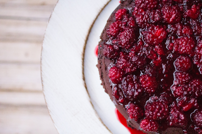 Spicy Dark Chocolate Cake with Hot Blackberry Syrup