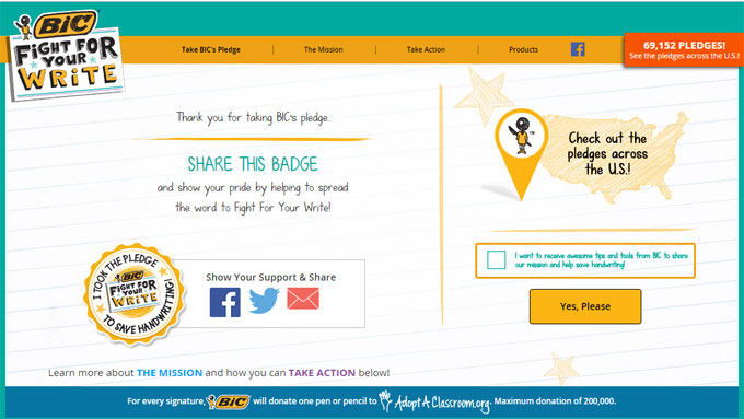 Bic fight for your write sweepstakes daily