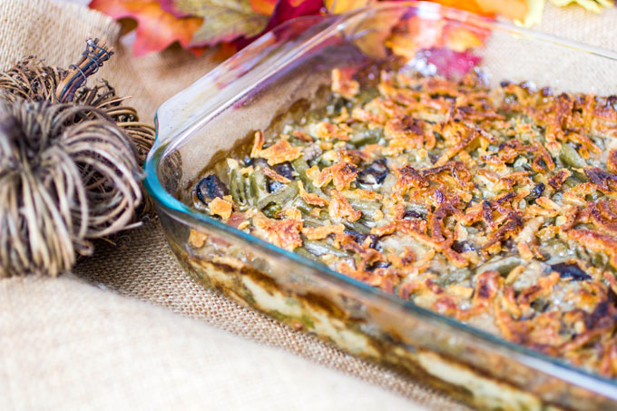 Gouda, Bacon and Portabella Mushroom Green Bean Casserole
