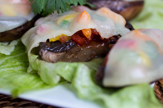 Seasoned Tomato and Pepper Stuffed Portabella Mushrooms #YesYouCAN #spon